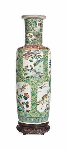 A large and finely decorated famille verte rouleau vase, Kangxi period Christie's. Collected in America: Chinese Ceramics from the Metropolitan Museum of Art, 15 September New York Japanese Vase, Japanese Porcelain, Oriental Furniture, European Paintings, Chinese Ceramics, Vintage Vases, Chinese Antiques, Porcelain Vase, Chinese Art