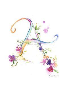 Letter A – Watercolor Monogram – Flower Lettering – Watercolor Letter Print – Watercolor Initial Ein Monogramm Aquarell Blumen Schriftzug Aquarell Brief Watercolor Lettering, Watercolor Cards, Watercolor Flowers, Watercolor Paintings, Watercolours, Alphabet Poster, Alphabet Letters, Aquarell Tattoos, Flower Letters