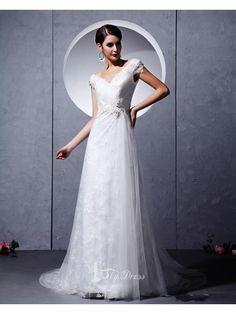 V Neck Applique Lace White A Line Wedding Gowns