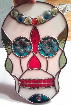 Day of the dead glass skull
