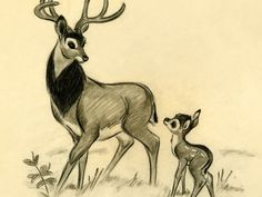 Bambi and his father ....id love this to be framed...