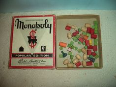 Vintage Lot Monopoly Wood Tokens Game Pieces Hotels etc. w/ Original Box  #ParkerBrothers