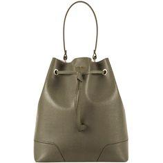 Furla Green Stacy Bucket Bag (€315) ❤ liked on Polyvore featuring bags, handbags, green, furla handbags, genuine leather purse, brown purse, brown leather handbags en furla purses