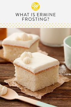 What is Ermine Frosting If you're looking for a not-so-sweet alternative to traditional icing, try your hand at ermine frosting. Firm enough to hold its [. Cake Frosting Recipe, Frosting Recipes, Buttercream Frosting, Cake Recipes, Ermine Buttercream Recipe, Homemade Cake Icing, Red Velvet Cake Frosting, Frost Cupcakes, White Cupcakes