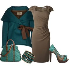 """brown&teal"" by missy-smallen on Polyvore"