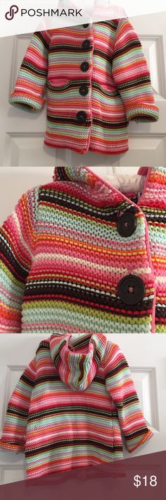 BabyGap Stripe Sweater/Jacket Cutest BabyGap stripe knit cardigan sweater jacket with hood, buttons, 2 pockets, rolled cuffs. Size 12-18mos, but we wore until 3, as sleeves unroll and it is longer style. Gap Jackets & Coats