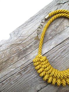 Mustard Yellow Rope necklace Mustard Yellow Nautical rope