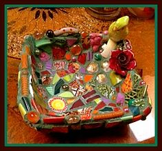 BIrd on Nest of Happiness Broken China / Pique Assiette Mosaic by Mary Ann