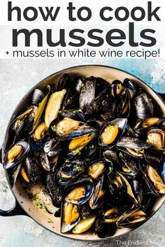 SAVE FOR LATER! Have you ever wondered how to cook mussels? Spoiler alert: it's super easy! I'll show you how to choose, store, clean, and cook mussels. Plus I'll share my favorite mussels in white wine recipe. Are you ready to learn how to prepare Fish Recipes, Seafood Recipes, Cooking Recipes, Healthy Recipes, Steak Recipes, Cooking Ideas, Dinner Recipes, Seafood Dinner, Fish And Seafood