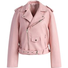 Chicwish Undeniably Chic Faux Leather Biker Jacket in Pink (4.135 RUB) ❤ liked on Polyvore featuring outerwear, jackets, pink, fake leather jacket, moto jacket, faux-leather jackets, vegan leather moto jacket and pink jacket