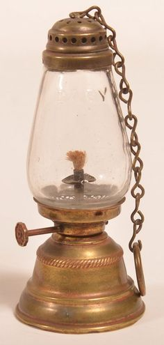 """Miniature Brass """"BABY"""" Skater's Lantern with colorless glass bulbous shade. Chain hanging handle, molded font with ga. Diogenes Club, Lantern Ceiling Lights, Old Lanterns, Lantern Candle Holders, Vintage Lamps, Oil Lamps, Candlesticks, Yandex, Chandeliers"""