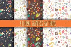 4 Floral Seamless Patterns Graphics 4 floral seamless patternsThe file includes:- 4 Ai files- 4 EPS10 files- JPG filesEnjoy! by Blue Lela Design