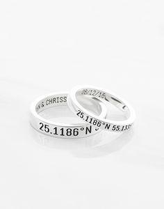 Personalized Location Band Coordinates Ring  Custom Latitude Longitude Ring  GPS Couple Ring Titanium Ring