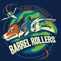 Planet Corneria Barrel Rollers (a Star Fox-inspired sports team design) by Kari Fry