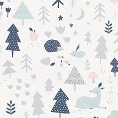 Carousel Designs Gray and Pink Baby Woodland Fabric by the Yard - Organic 100% Cotton