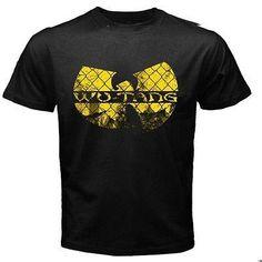 Men Cool T Shirts Funny Tees Wu Tang Clan logo Rap Hip Hop Music Short Sleeve Printed Black T-Shirt Men