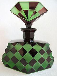 SIGNED BOHEMIAN GREEN GLASS ENAMELED FACETED PERFUME BOTTLE stopper ART DECO