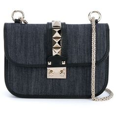 Valentino Garavani 'Glam Lock' denim shoulder bag ($1,905) ❤ liked on Polyvore featuring bags, handbags, shoulder bags, purses, bolsas, blue, shoulder handbags, blue shoulder handbags, denim shoulder handbags and studded purse