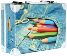 Školní kufřík malý - 33x23x10cm č. 21748 HK Malý Barevné tužky Jeans Bunt, Jeans, Pencil Grades, Gifts, Denim, Denim Pants, Denim Jeans
