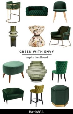 Green with Envy Inspiration Board : Be inspired by all things green with this super stylish collection! From lush green sofas to beautiful velvet footstools, these furniture pieces will have your home looking oh so fabulous in no time.