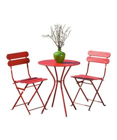 Your exhibit, your colors, add chair sashes, kissing balls, hearts and embellish for the occasion! We love this bright Red Sol Bistro Set #zulilyfinds  Add hearts, lace embellishments, then 10x10 canopy with red and white roses.! Displays and marketing with PJ. Red is the color of love! #allweddingsallowed