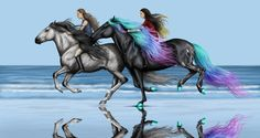 Day at the Olympics by Vizseryn. on - Pferde - # Horse Drawings, Animal Drawings, Art Drawings, Drawing Faces, Pretty Horses, Beautiful Horses, Fantasy Creatures, Mythical Creatures, Arte Equina