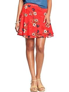 Womens Floral Crinkle-Chiffon Skirts