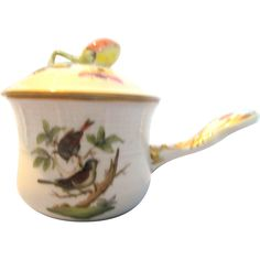 Herend Pottery Rothschild Birds Handled Pot de Creme  Offered by Ruby Lane Shop The Old Stone Mansion
