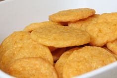 Homemade Cheese Crackers, only 4 ingredients, 4T softened butter, 1C grated cheddar, 1/3C all purpose flour, 1/4t chili powder. Cream butter, stir in dry, shape, chill, cut and bake ~12-15 mins.