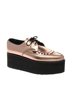 Underground Exclusive Rosegold Triple Sole Pointed Creepers - StyleSays