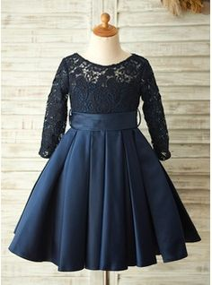 A-Line/Princess Knee-length Flower Girl Dress - Satin/Lace Long Sleeves Scoop Neck With Sash/Bow(s) (010104928) - Flower Girl Dresses - JJsHouse