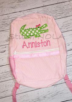 Pink Seersucker Backpack with Alligator by StitchNOLABoutique
