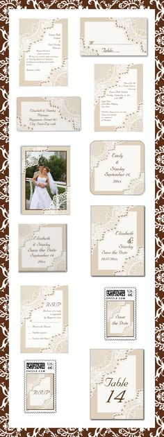 Elegant white lace with pearls sand beige wedding invitations and matching stationery. #weddings, #weddinginvitations, #weddingstationery, #lace, #pearls, #beige, #sandbeige  See more designs http://www.zazzle.com/weddings_?rf=238228936251904937=zBookmarklet