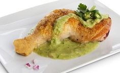 Roast Chicken Legs with Spicy Avocado-Tomatillo Salsa. Only 5g Net Carbs.