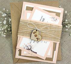 Boda invitación Suite melocotón boda por MelindaWeddingDesign