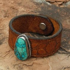 Leather Cuff Bracelet with Turquoise  Old by RocaJewelryDesigns