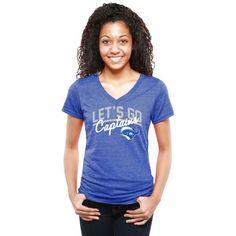 Christopher Newport University Captains Women's Let's Go Tri-Blend V-Neck T-Shirt - Royal - $24.99
