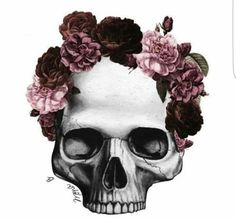 Floral wreath skull