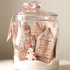 Gingerbread Cookie Snow Globe City. perfect gift! Carve each person a gingerbread version of their house!