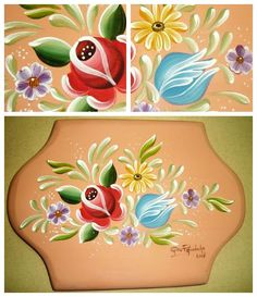 Atelier Gina Pafiadache: Risks and Projects Tole Painting, Pottery Painting, Fabric Painting, Rosemaling Pattern, Boat Art, Cross Stitch Rose, Flower Tattoo Designs, Learn To Paint, Floral Motif