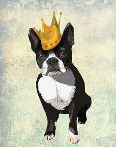 Boston Terrier corona 14 x 11 boston terrier por LoopyLolly en Etsy, $36.00
