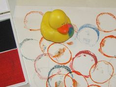 Rubber duck stamping!  What a great idea!  I always wondered what to do with those silly little ducks!