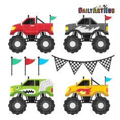 Monstruo camión Clip Art de cuatro ruedas coche Clipart Cool
