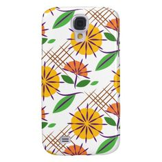 Retro Floral Contemporary Pattern Yellow + Orange Samsung Galaxy S4 Cases