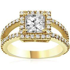 $3,277  -  * GIA CERTIFIED * 1.66 CT PRINCESS CUT HALO SPLIT SHANK DIAMOND ENGAGEMENT RING SOLID 14K YELLOW GOLD F 26 D http://www.amazon.com/dp/B00OM7RGYA/ref=cm_sw_r_pi_dp_ggOyub0F8W7N2