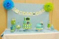 Little man shower decor + cake table