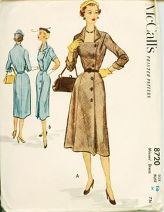 1950's Vintage Sewing Pattern - 1951 Side Buttoned Sheath Dress - McCALL's 8720