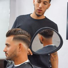 Make sure to book appointments if you don't want to wait the line. Link in Bio. Pompadour Fade Haircut, Short Hair Undercut, Undercut Hairstyles, Short Hair Cuts, Cool Hairstyles, Short Hair Styles, Cool Haircuts, Haircuts For Men, Barber Shop Haircuts
