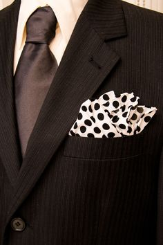 f9029d8c8f45 Hand sewn white pocket square. Black Polka dot pocket square. Black and white  pocket square. White and Black pocket square.