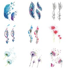 1 pcs Colorful Flower Dandelion Creative Women Body Art Temporary Tattoo Sticker… - New Sites Feather Tattoo Foot, Dandelion Tattoo Design, Feather Tattoo Design, Dandelion Tattoo Small, Mini Tattoos, Foot Tattoos, Body Art Tattoos, Small Tattoos, Pocahontas Tattoo